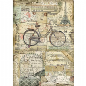 Stamperia A4 Rice Paper - Bicycle - DFSA4458